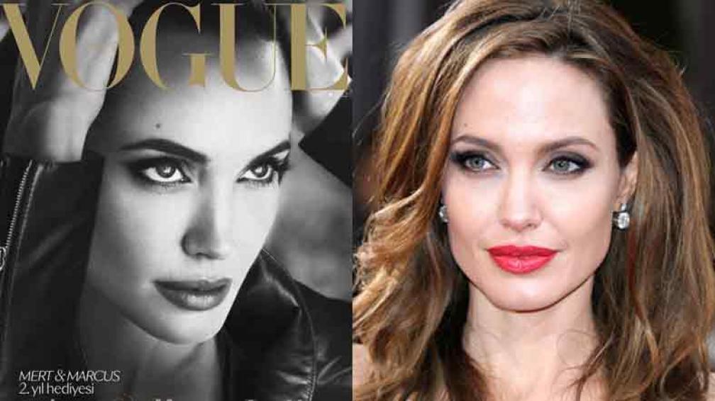 ROSTRO MARAVILLOSO. A la izquierda, Angelina en la portada de Vogue Turquía. A la derecha, en los últimos Oscar