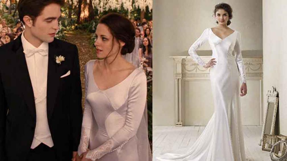 EL SUEÑO DE ELLAS. A la izquierda, Kristen Stewart y Robert Pattinson se casan en Crepúsculo. A la derecha, el vestido de novia, con detalles magníficos.