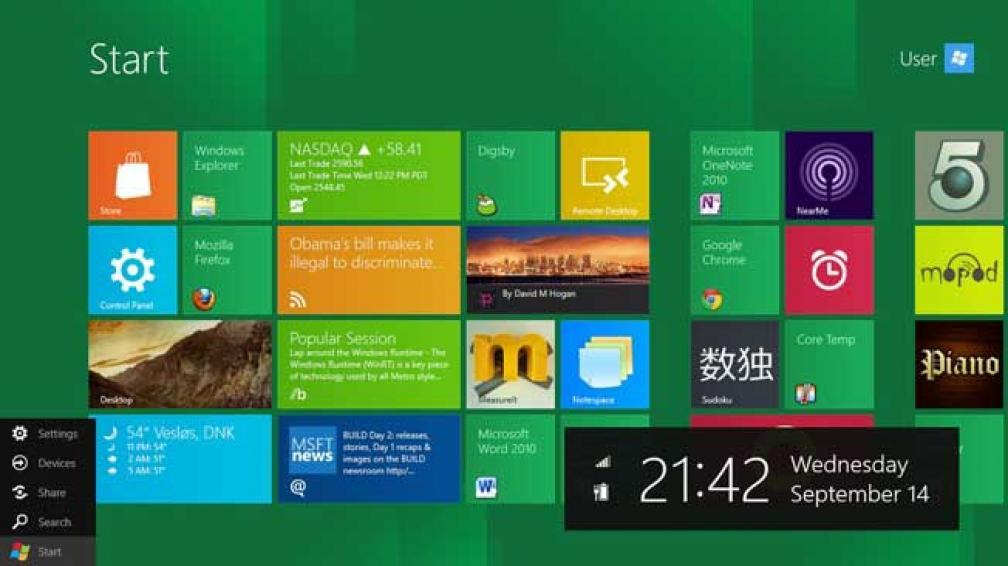 """La nueva interfaz de usuario de """"Windows 8""""."""