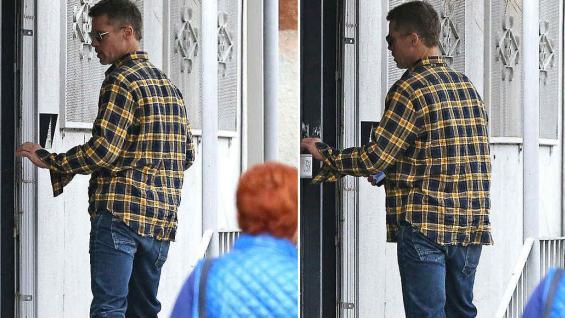 Brad Pitt entrando al estudio de su amigo Thomas Houseago en Los Ángeles